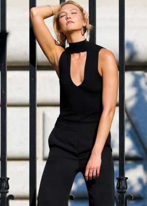 Karlie Kloss on the set of a photoshoot in New York City