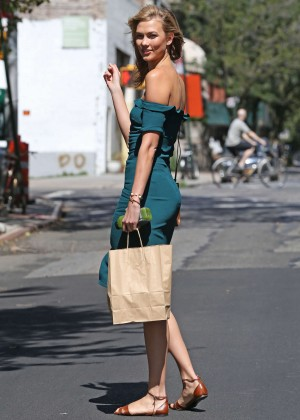 Karlie Kloss in Green Dress out in NYC