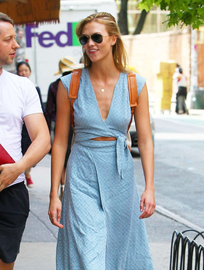 Karlie Kloss in Long Dress Out in NYC