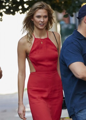 Karlie Kloss in Red Dress Out in NYC