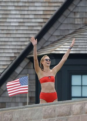 Karlie Kloss in Red Bikini in Westerly