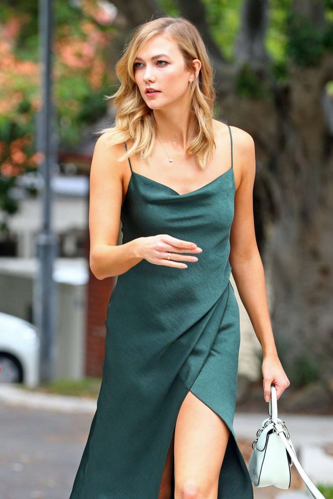 Karlie Kloss - Wearing a green dress in Sydney