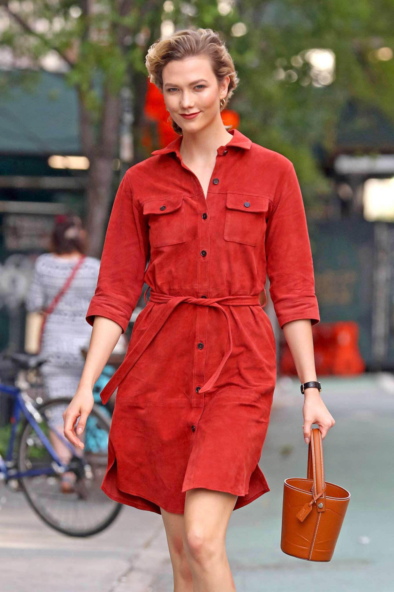 Karlie Kloss - Wearing a Red Dress in NYC