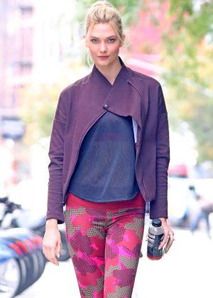 Karlie Kloss - Wearing Adidas workout gear in New York