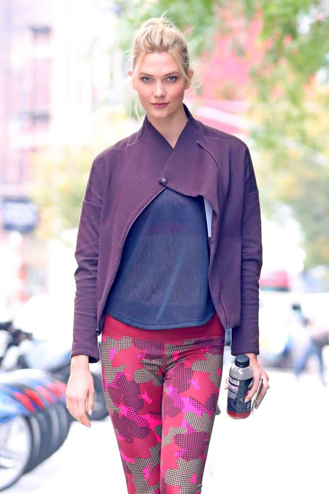 Karlie Kloss – Wearing Adidas workout gear in New York
