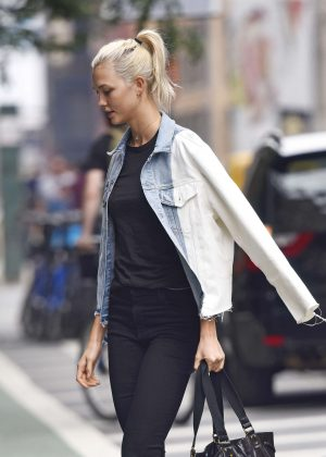 Karlie Kloss with new platinum blonde hair out in NYC