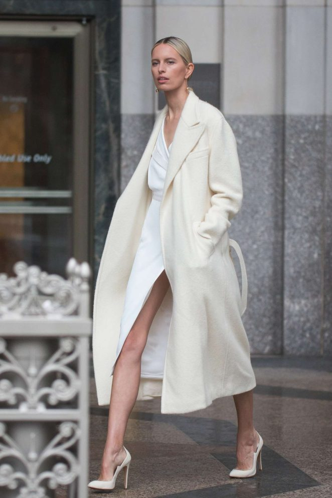 Karolina Kurkova on a photo shoot on a rainy day in New York