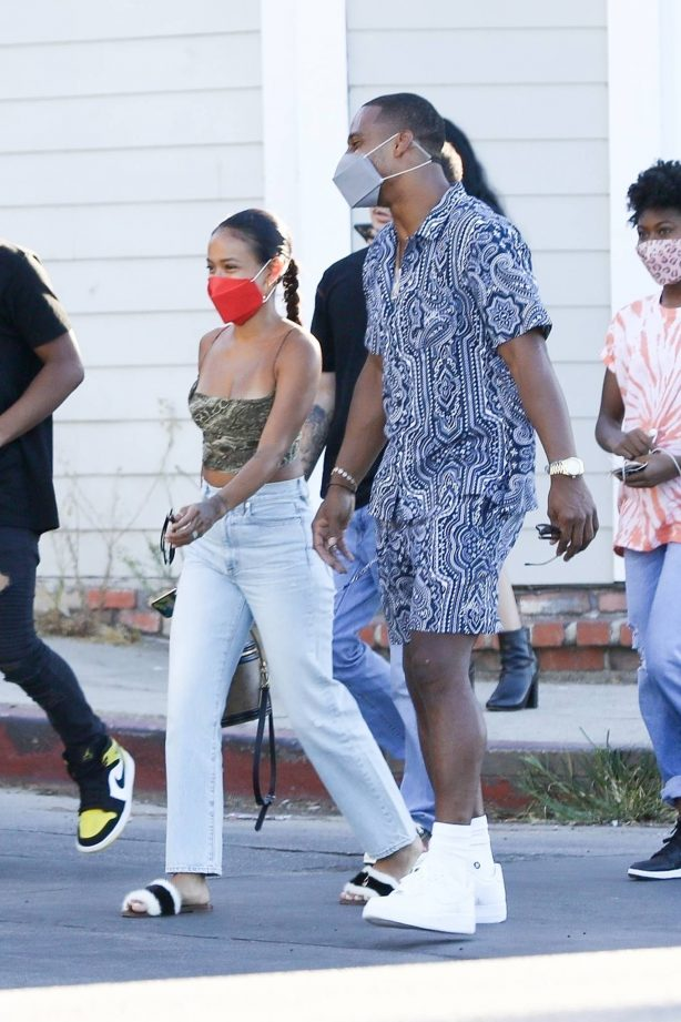Karrueche Tran and boyfriend Victor Cruz - Out and about