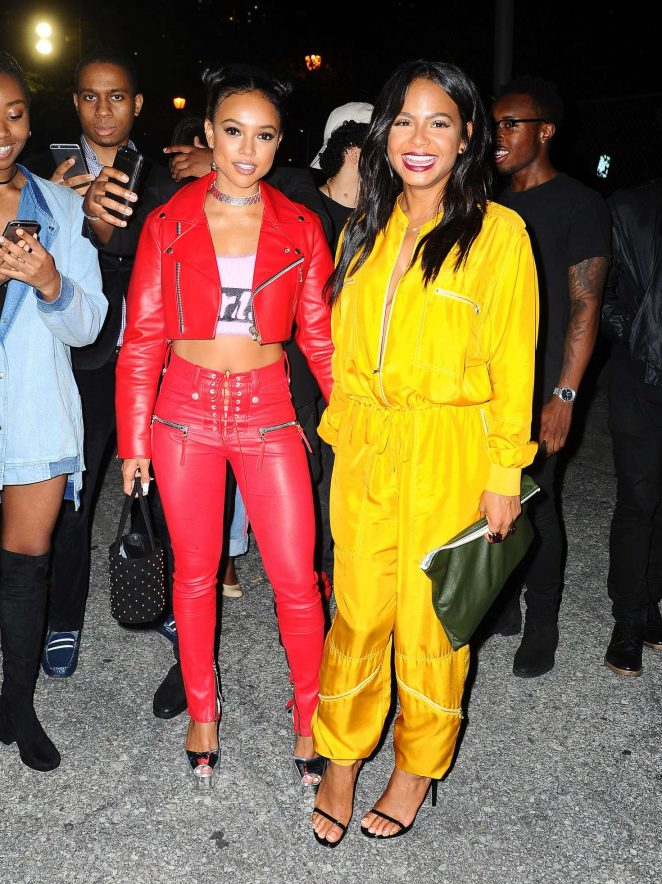 Karrueche Tran and Christina Milian at Alexander Wang x Adidas Party in NYC