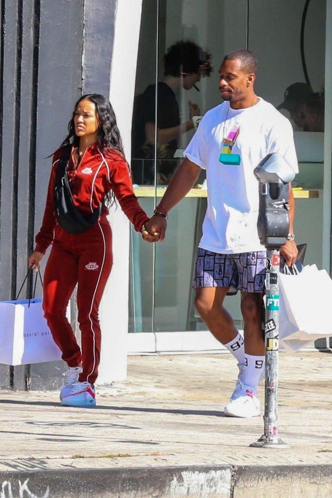 Karrueche Tran and her boyfriend shopping in Hollywood