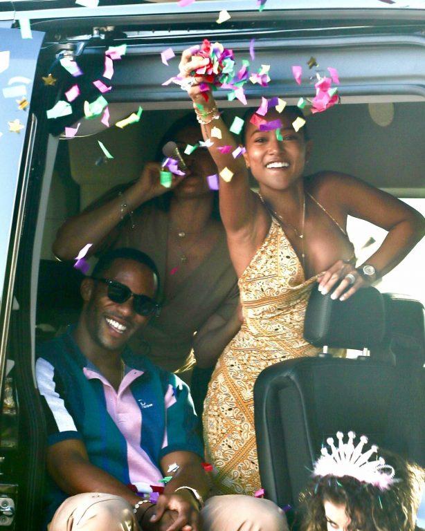 Karrueche Tran and Victor Cruz - Pictured at friend's birthday at Nobu in Malibu