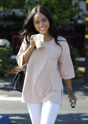Karrueche Tran at Fred Segal Cafe in Los Angeles
