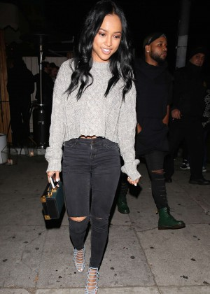 Karrueche Tran in Ripped Jeans at The Nice Guy in West Hollywood