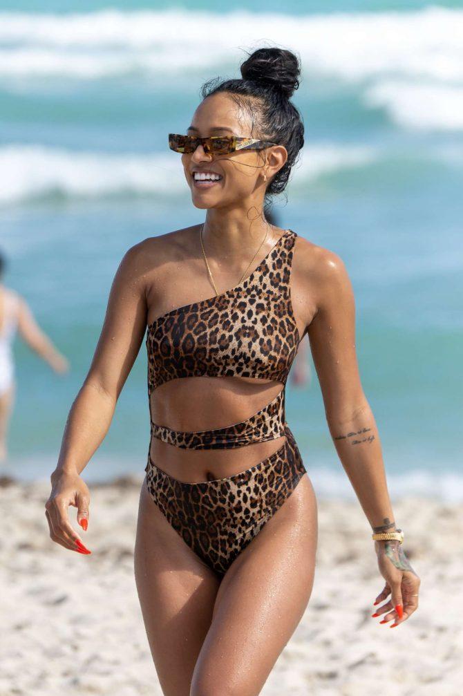 Karrueche Tran in Animal Print Swimsuit on Miami Beach