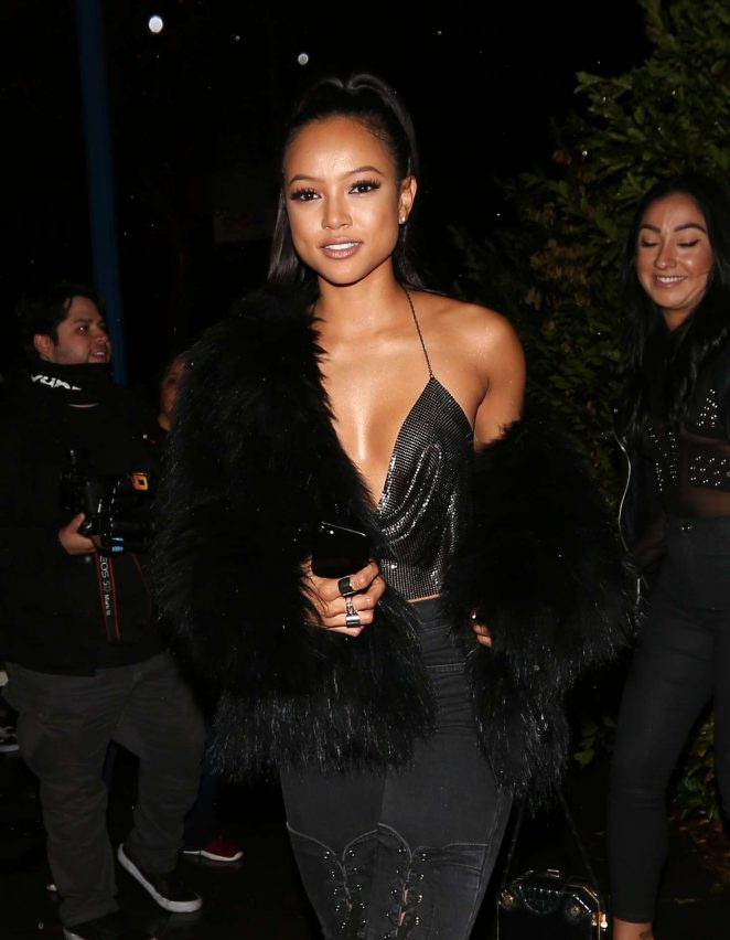 Karrueche Tran in Black Jeans at Delilah Club in West Hollywood