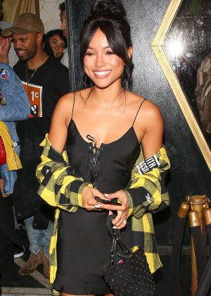 Karrueche Tran in Black Slip Dress at Bootsy Bellows in West Hollywood