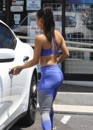 Karrueche Tran in Blue Leggings Out in West Hollywood