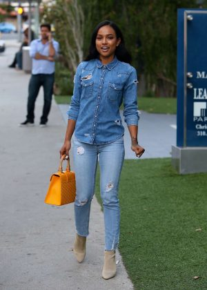 Karrueche Tran in Jeans Leaving BOA Steakhouse in LA