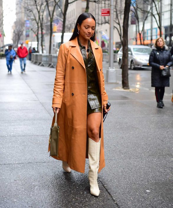 Karrueche Tran in Leather Trench Coat - Out in NYC