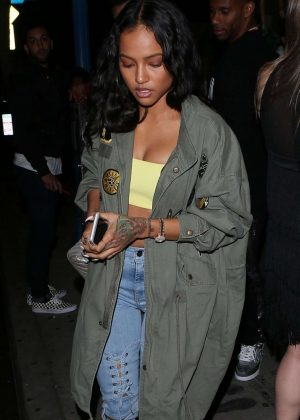 Karrueche Tran in Long Jacket at Delilah in West Hollywood