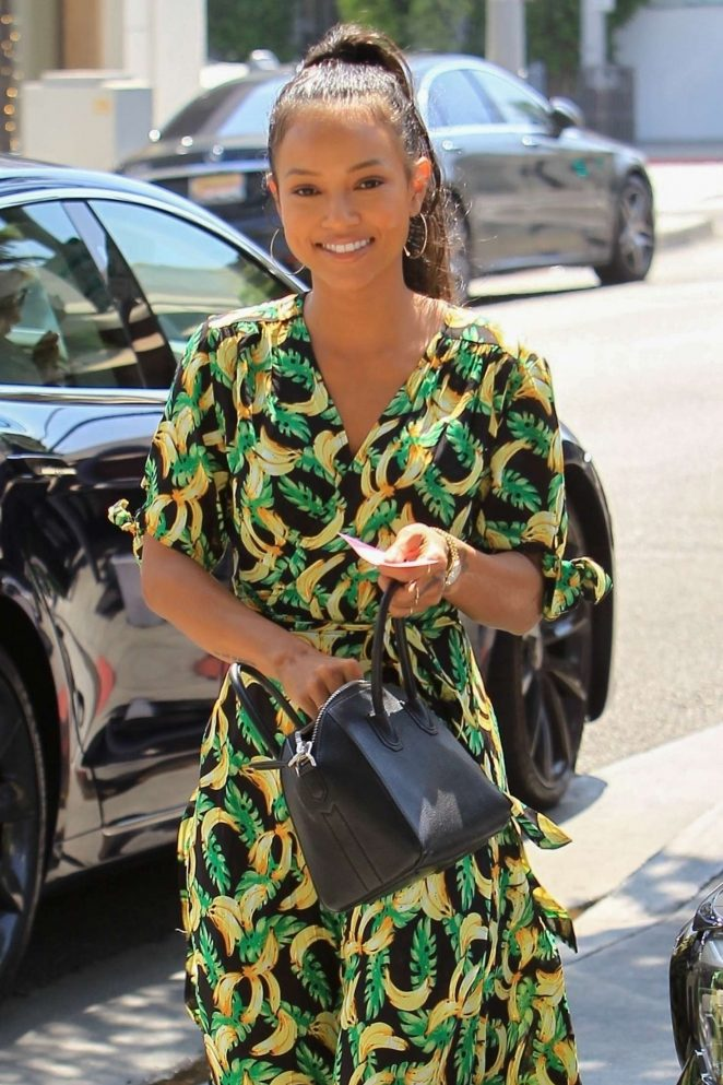 Karrueche Tran in Long Summer Dress - Out in Beverly Hills