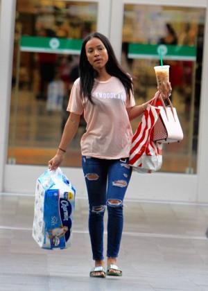 Karrueche Tran in Ripped Jeans Shopping in LA