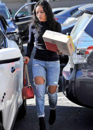 Karrueche Tran in Ripped Jeans Shopping in Los Angeles