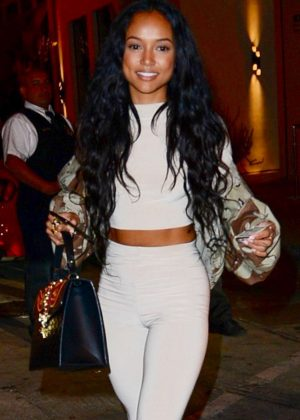 Karrueche Tran in White Pants at Catch LA in West Hollywood