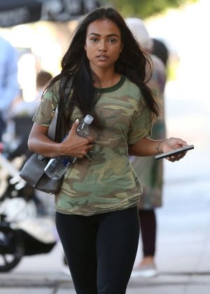 Karrueche Tran - Leaving Kate Somerville in West Hollywood