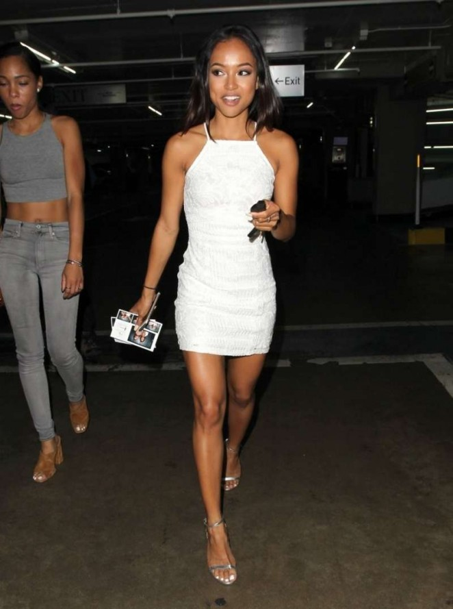Karrueche Tran in White Mini Dress out in LA