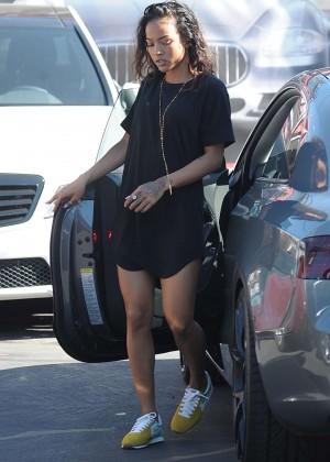 Karrueche Tran in Mini Black Dress Out in LA