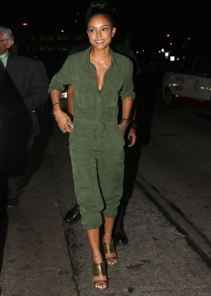 Karrueche Tran in Jumpsuit Out in Los Angeles