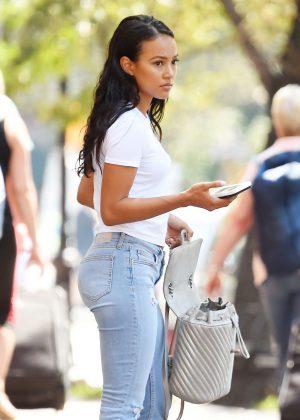 Karrueche Tran in Jeans out in West Village