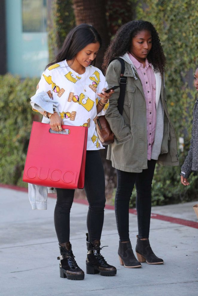 Karrueche Tran out with her family in West Hollywood