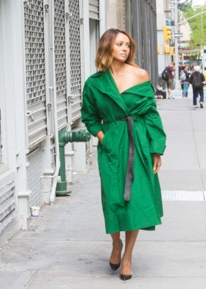 Kat Graham in Green Arriving at her hotel in NYC