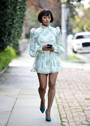 Kat Graham in Mini Dress - Out in Los Angeles