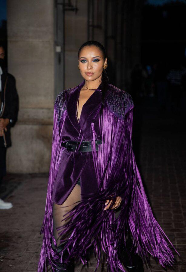 Kat Graham - is seen wearing purple belted blazer dress in Paris