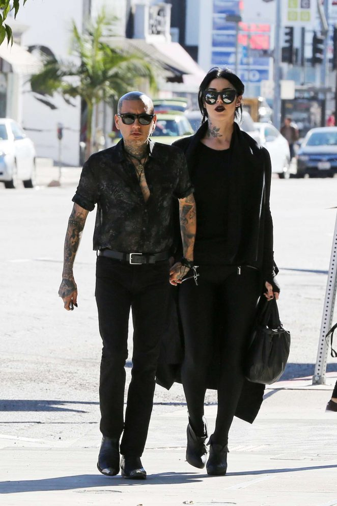 Kat Von D and her boyfriend at vegan hotspot Real Foods Daily in West Hollywood