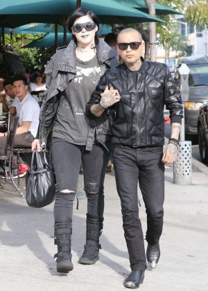 Kat Von D and her husband Rafael Reyes at Utah cafe in LA