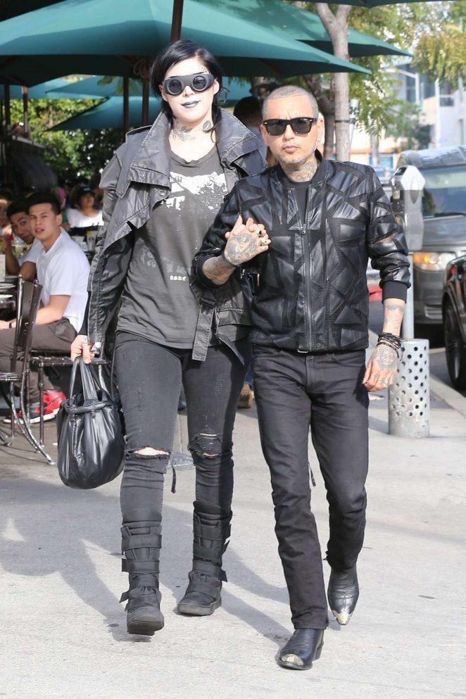 Kat Von D and her husband Rafael Reyes at Utah cafe in LA