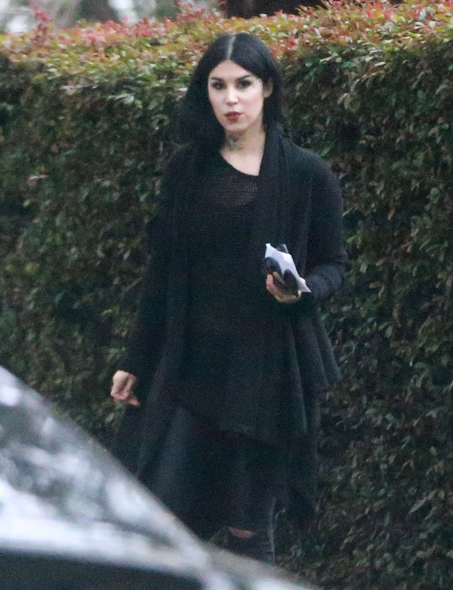 Kat Von D headed to a friend's house in Los Angeles