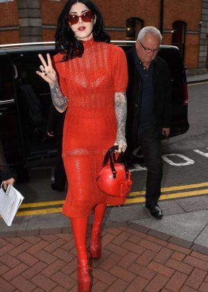 Kat Von D in Red Leaves Westbury Hotel in Dublin