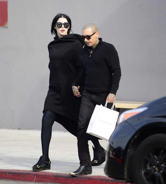 Kat Von D with her new boyfriend - Leaving Crossroads Kitchen in West Hollywood