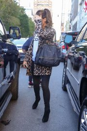 Kate Beckinsale in Animal Print Coat - Out in New York City