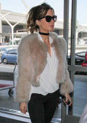 Kate Beckinsale in Fur Coat at LAX in Los Angeles