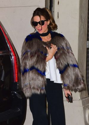 Kate Beckinsale in Fur Coat out in NYC