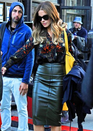 Kate Beckinsale in leather Skirt on the set of Only Living Boy in New York