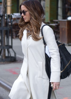 Kate Beckinsale in White Coat out in NYC