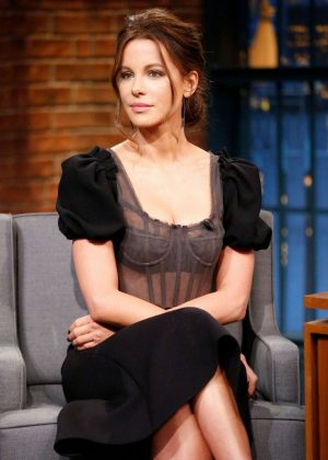 Kate Beckinsale on 'Late Night with Seth Meyers' in New York City