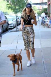 Kate Bock in Animal Print Skirt - Walking her dog in New York